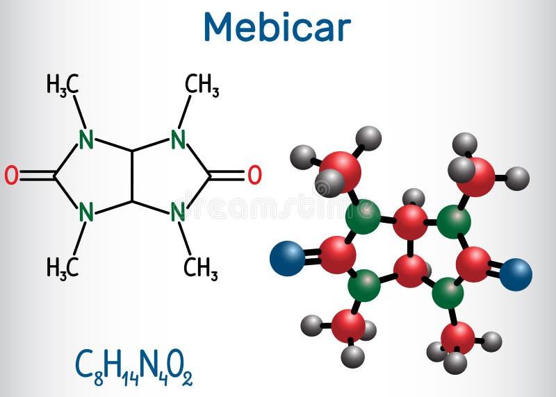 Molekyl för drog för Mebicar mebicarumanxiolytic Strukturell kemisk formel- och molekylmodell royaltyfri illustrationer