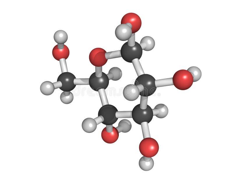 Molekyl för glukos (beta-D-glukos, druvasocker, druvsocker) royaltyfri illustrationer