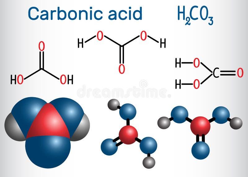 Molekyl för kolsyra H2CO3 Det är också lösningen av kol vektor illustrationer