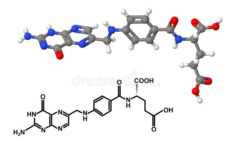 Molekyl för vitamin B9 med kemisk formel stock illustrationer