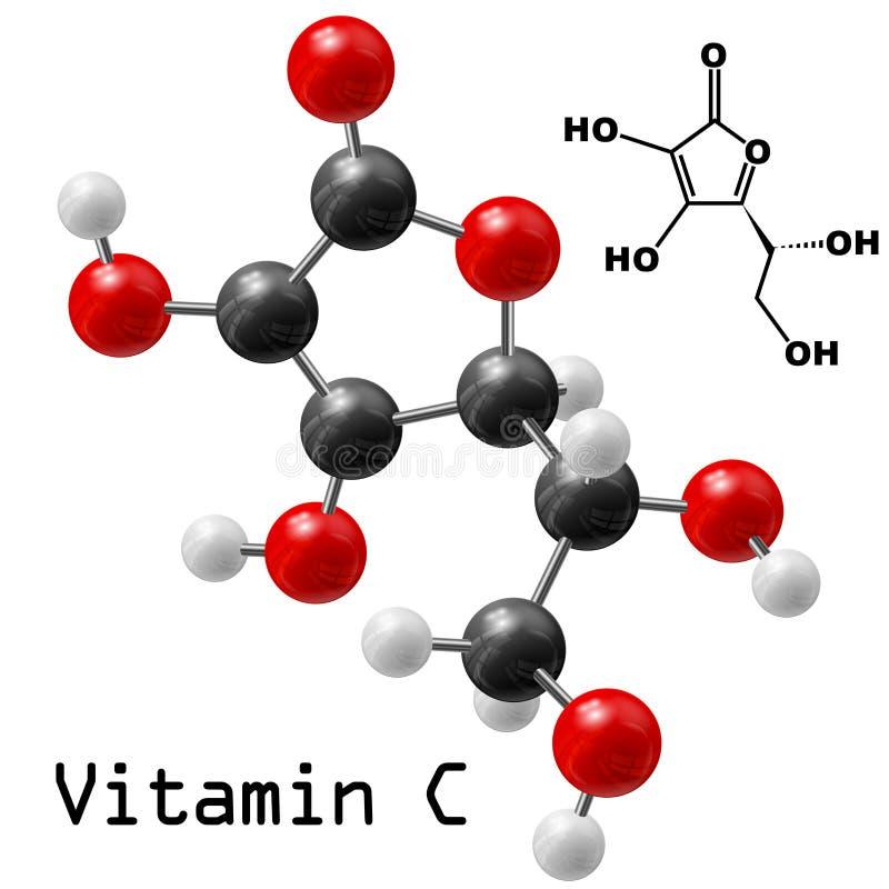 Molekyl för vitamin C vektor illustrationer