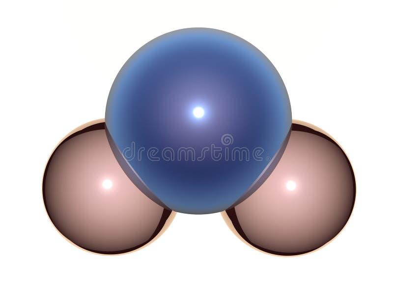 molekyl H2O för vatten 3D royaltyfri illustrationer