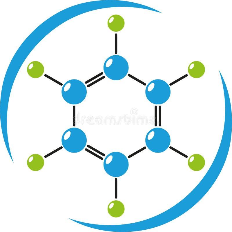 Molekyl i färg, kemi, vetenskap och laboratoriumlogo stock illustrationer