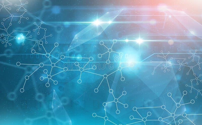 molekylar abstrakt bakgrund för vetenskap och teknik royaltyfria foton