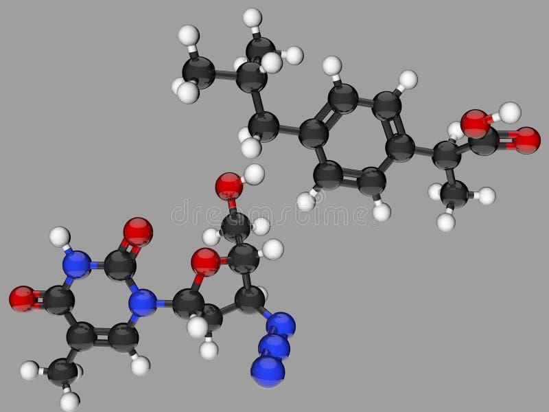 Molekylbakgrund för abstrakt modell 3d som fäster den lätta redigerande mappillustrationen ihop, inkluderade banaframförandet royaltyfri illustrationer