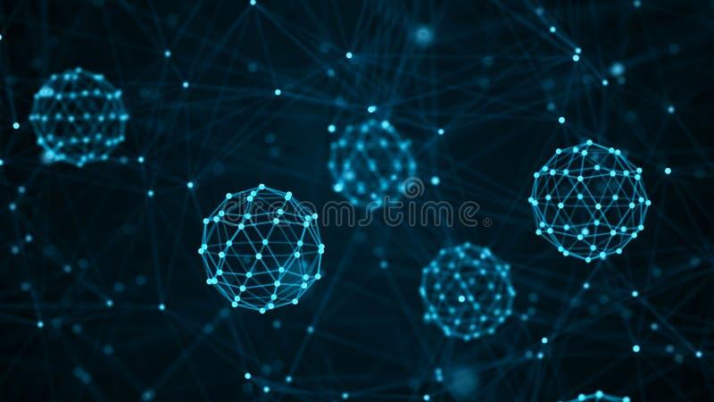 Molekylbegrepp Abstrakta neurons och nervsystem optometriker f?r l?karunders?kning f?r bakgrundsdiagram?ga framf?rande 3d royaltyfri illustrationer