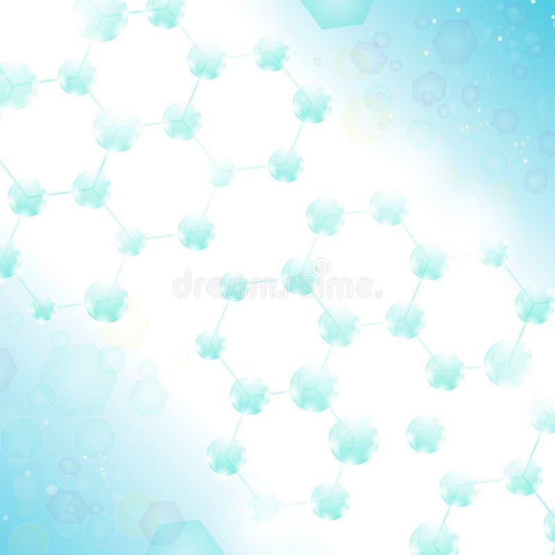 Molekyldesign Strukturmolekyl och kommunikation Atom, Neurons eller DNA Sexhörnig genetisk och kemisk struktur stock illustrationer