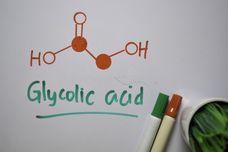 Molekylen av glykolsyra på vitt papper Strukturkemisk formel Utbildningsbegrepp royaltyfri foto