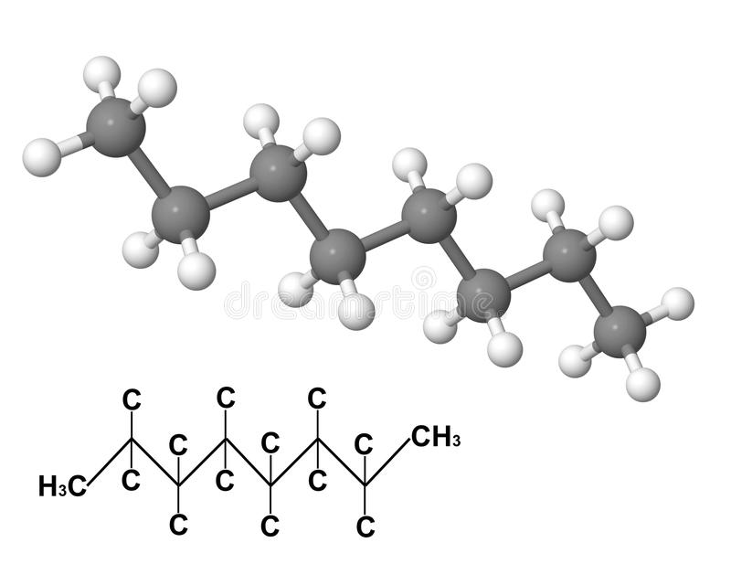 molekyloktan för chemical formel royaltyfri illustrationer