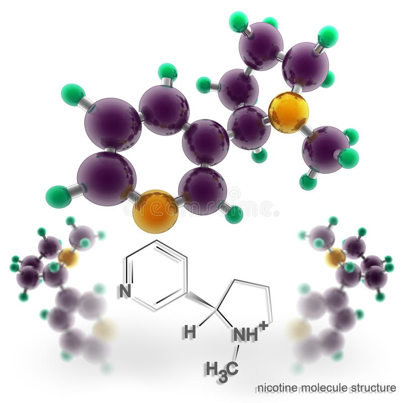 Molekylstruktur av nikotin royaltyfri illustrationer
