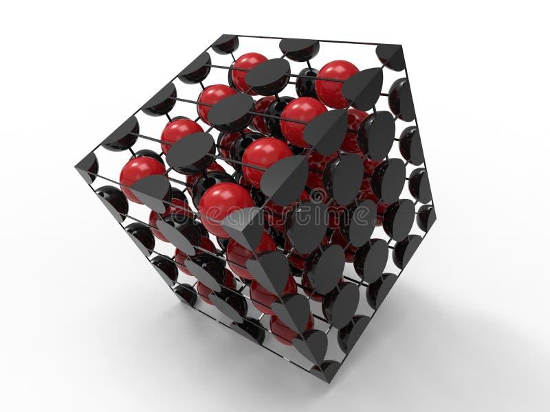 molekylstruktur för kub 3D stock illustrationer
