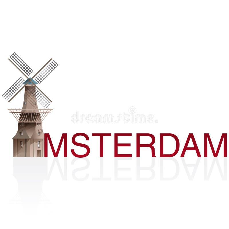 MOLEN DE GOOYER, Amsterdam ilustración del vector