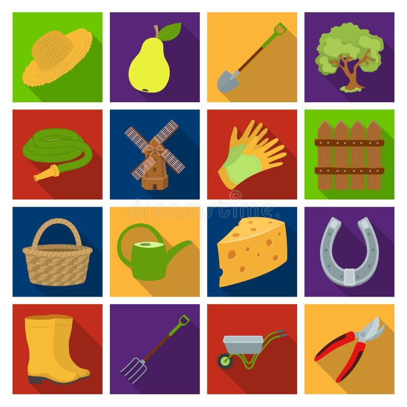 Molen, handschoenen, omheining en ander landbouwbedrijfmateriaal Landbouwbedrijf en het tuinieren vastgestelde inzamelingspictogr royalty-vrije illustratie