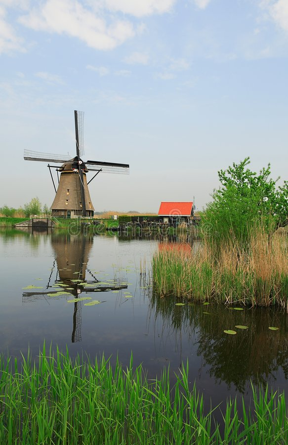 Molen in Nederlands landschap royalty-vrije stock foto