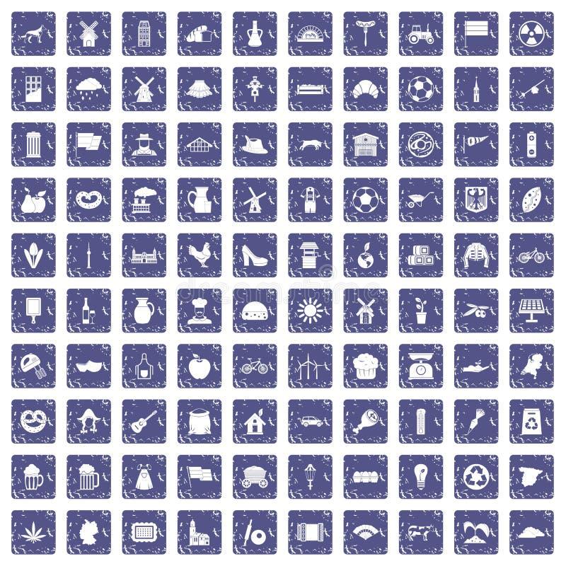 Download 100 Molenpictogrammen Geplaatst Grunge Saffier Vector Illustratie - Illustratie bestaande uit vlag, olijven: 107707973
