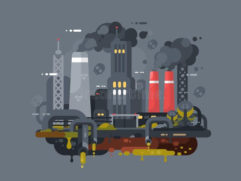 Molens en fabrieken die milieu verontreinigen royalty-vrije illustratie