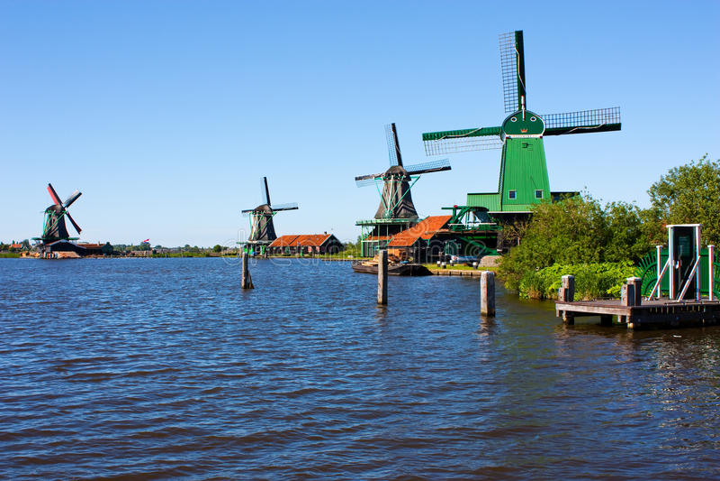Molens in Holland stock foto's