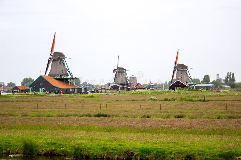 Molens in Zaandam stock foto