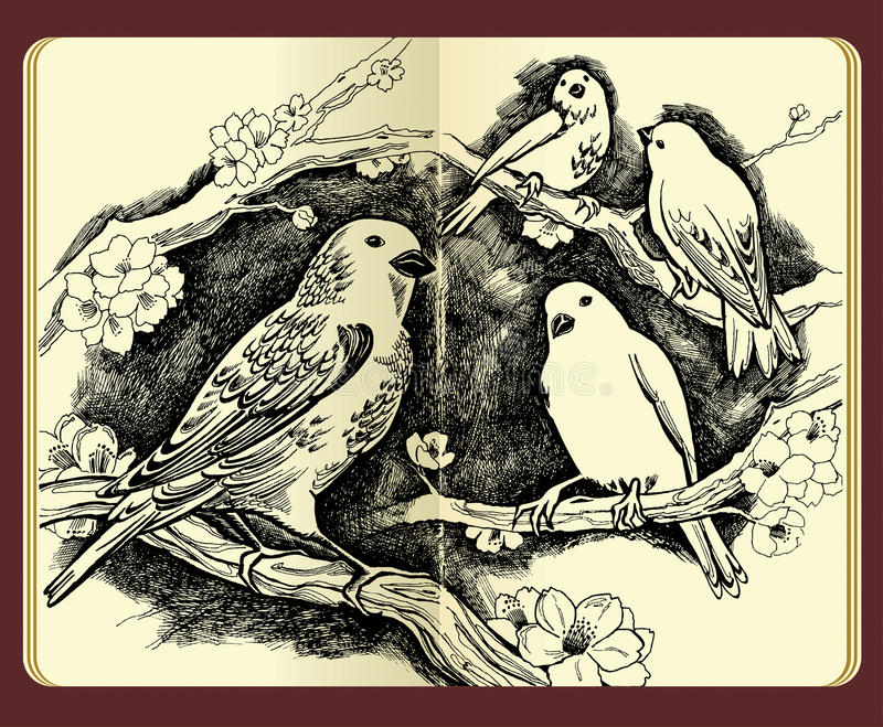 Notebook And Pen Sketch Stock Vector Art More Images Of: Moleskine Drawing Of Birds Flowers And Branches Stock