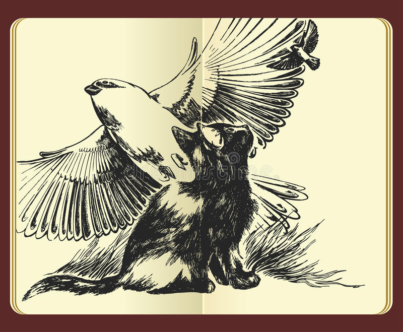 Download Moleskine Drawing-dreaming About Wings And Freedom Stock Photography - Image: 12832092