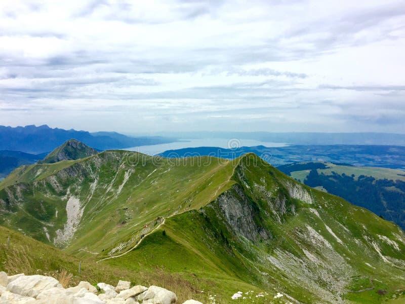 Moleson弗里堡瑞士山景 免版税图库摄影