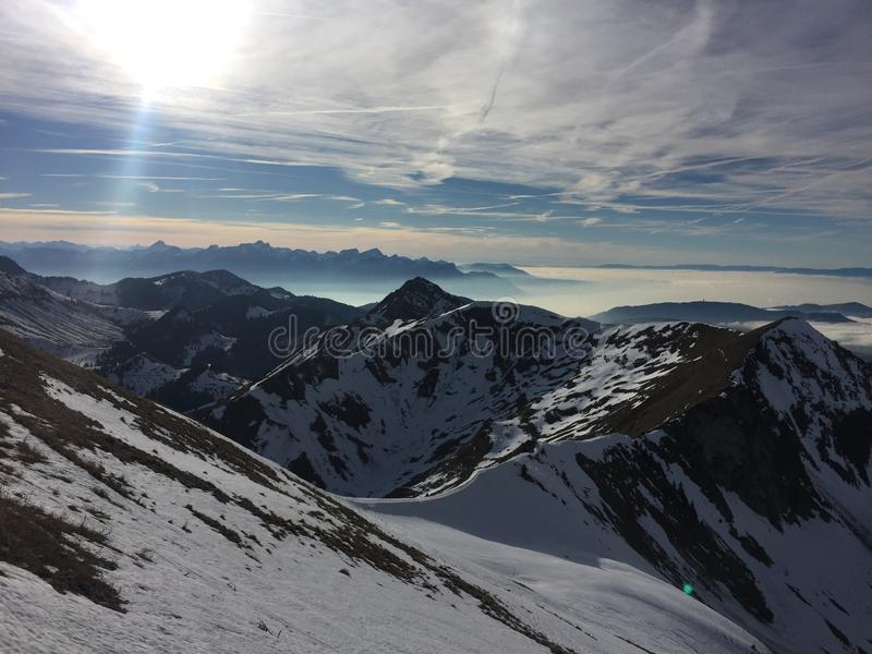 Moleson弗里堡瑞士雪moutains 图库摄影