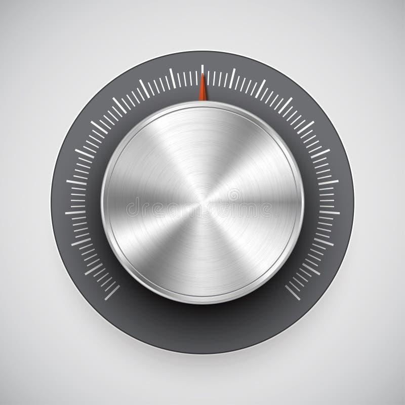 Molette de volume de chrome (bouton, tuner de musique) illustration stock