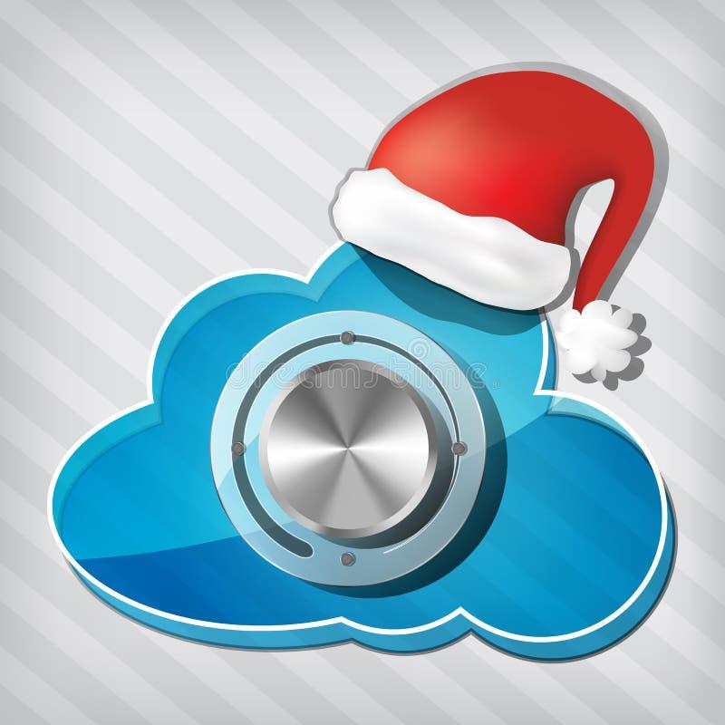 Molette sur le nuage de transparence avec le chapeau du père noël illustration de vecteur