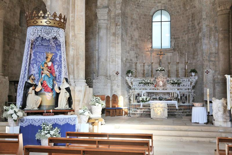 Molfetta Cathedral interior. MOLFETTA, ITALY - MAY 28, 2017: Cathedral of Saint Conrad (Duomo di San Corrado) in Molfetta, Italy. The medieval romanesque style royalty free stock images