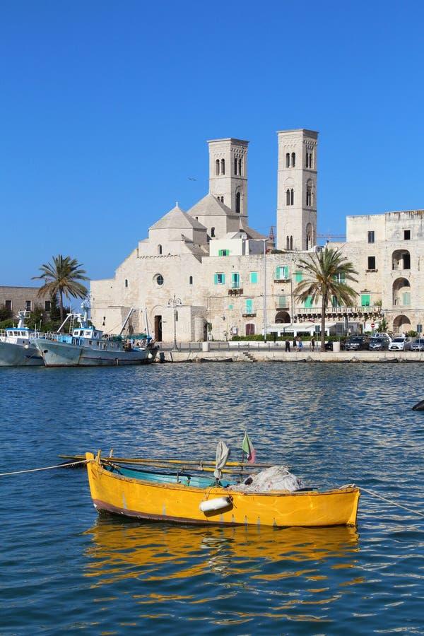Molfetta, Italy. Molfetta town in Apulia, Italy. Molfetta fishing boats harbor stock image