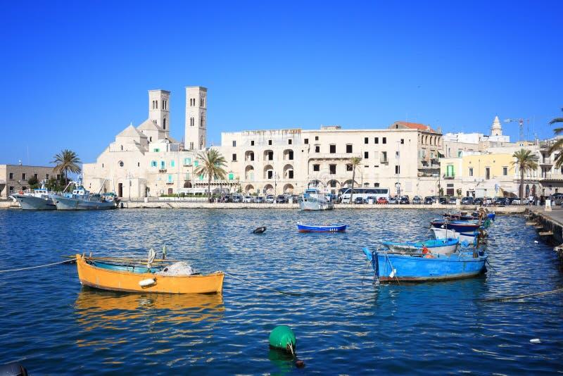 Molfetta, Italy. Molfetta town in Apulia, Italy. Molfetta fishing boats harbor stock photography