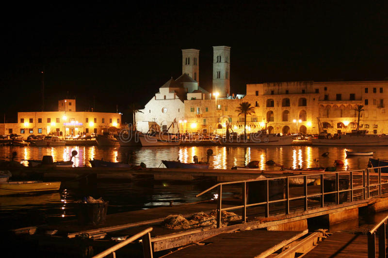 Molfetta by night. A view of the port and the cathedral of molfetta in italy royalty free stock photos