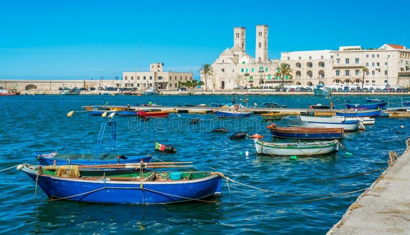 Molfetta strand med domkyrkan Landskap av Bari, Apulia Puglia, sydliga Italien arkivbilder