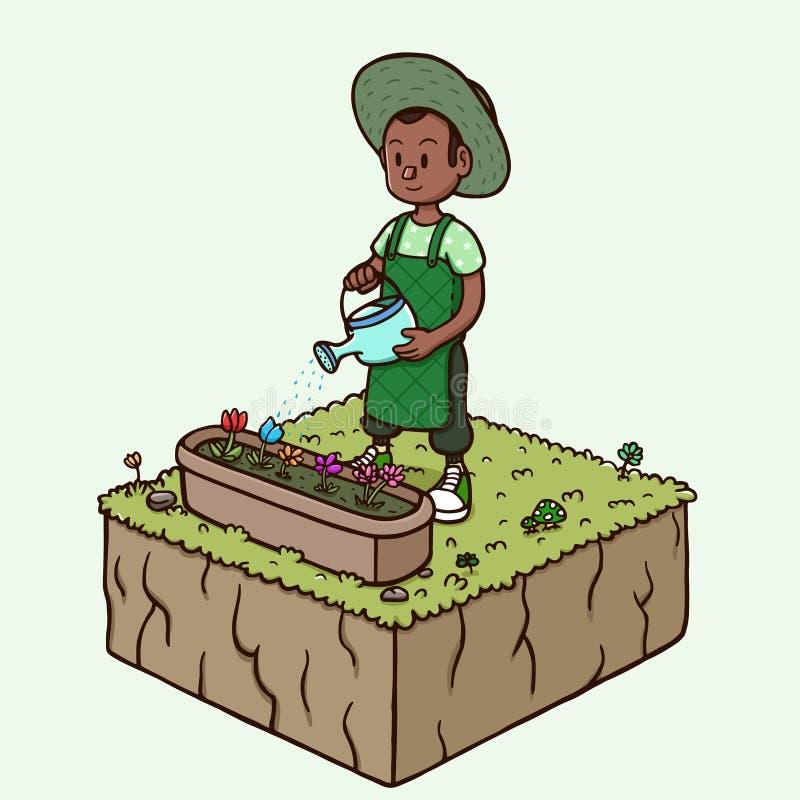 Molhando a flor do jardim - homem negro na temporada de verão ilustração do vetor