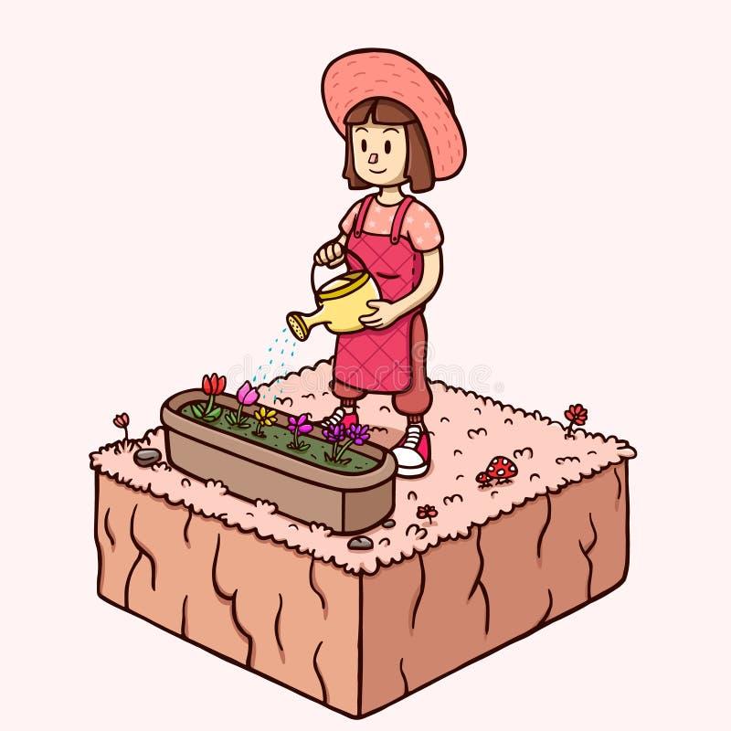 Molhando a flor do jardim - mulher branca na estação de mola ilustração do vetor