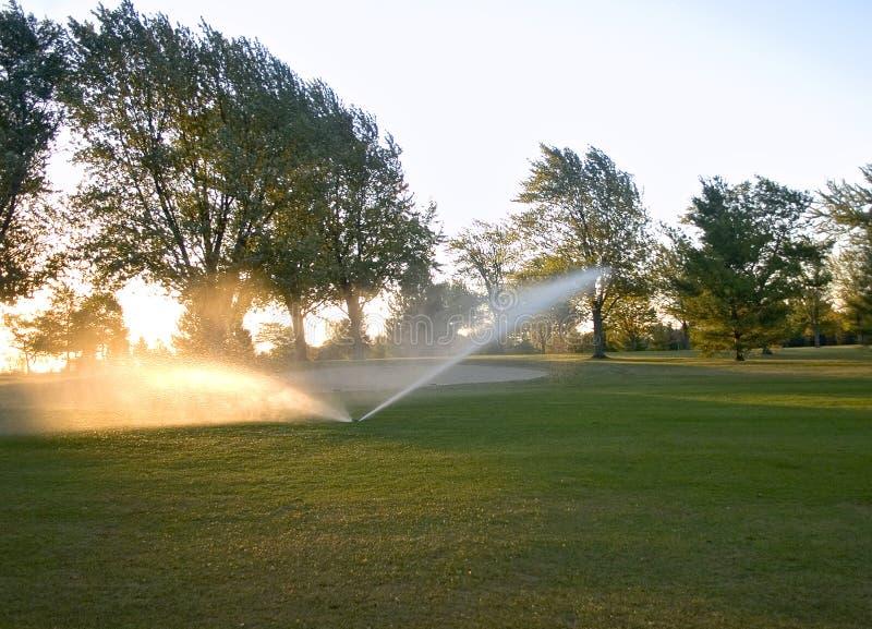 Molhando o campo de golfe fotografia de stock royalty free