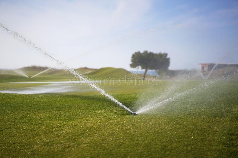 Molhando o campo de golfe fotografia de stock