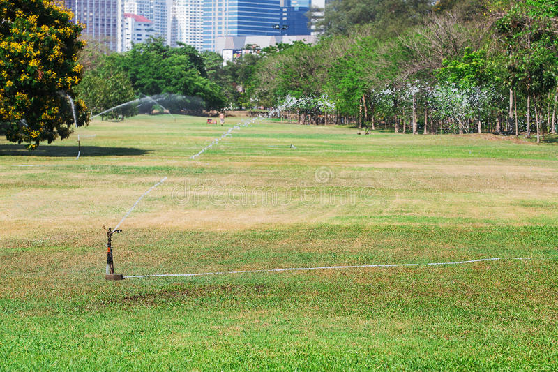 Molhar no campo de golfe foto de stock
