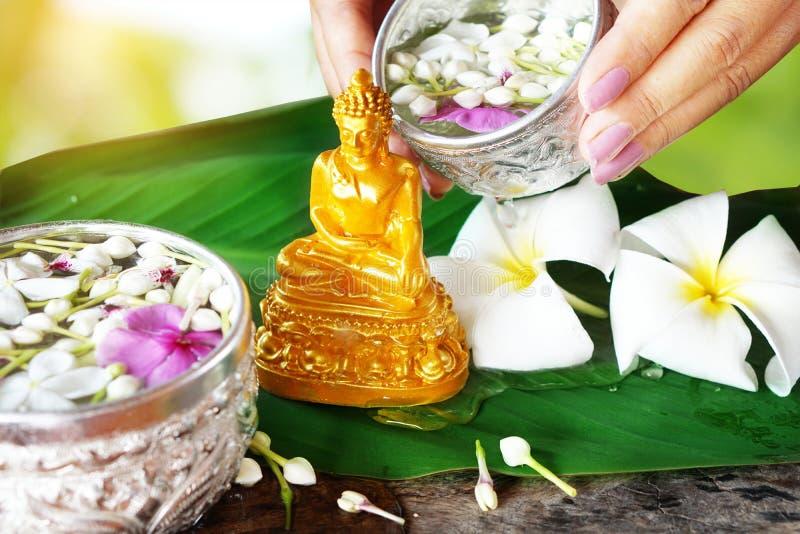 Molhe a cerimônia da bênção pelo festival de Songkran ou o ano novo tailandês fotografia de stock