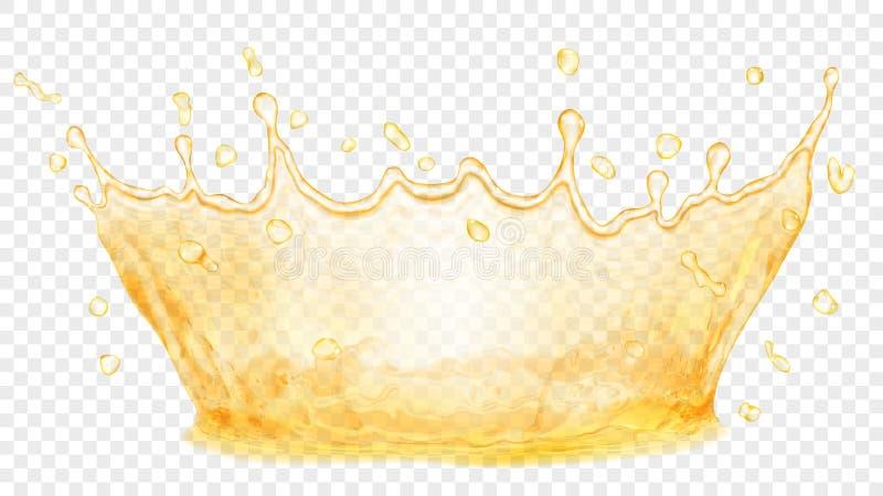 Molhe a coroa Respingo da água ou do óleo Transparência somente no vetor ilustração stock