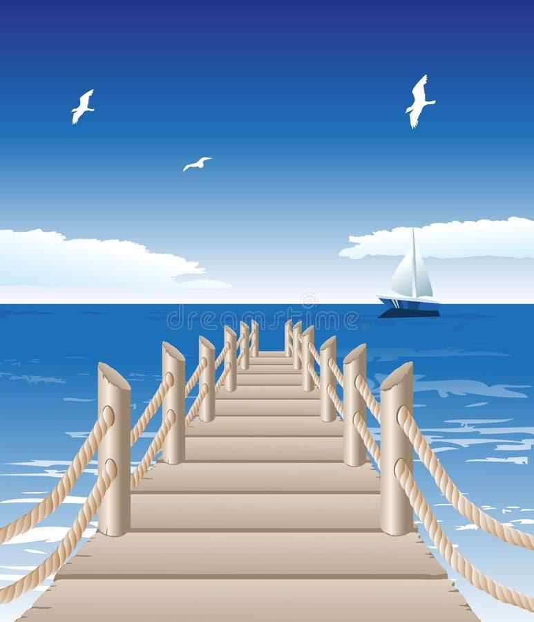 Molhe de madeira ilustração stock