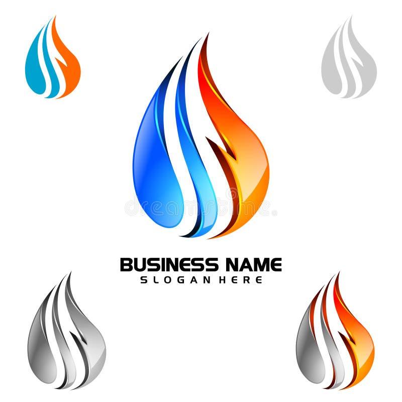 Molhe a gota, óleo, gás, projeto do logotipo do vetor da gota da água 3d azul ilustração royalty free