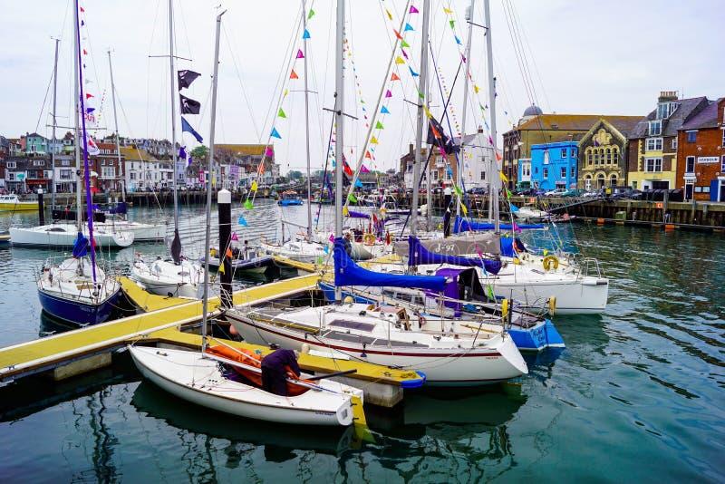 Molhe novo de Weymouth para navegar o clube foto de stock royalty free