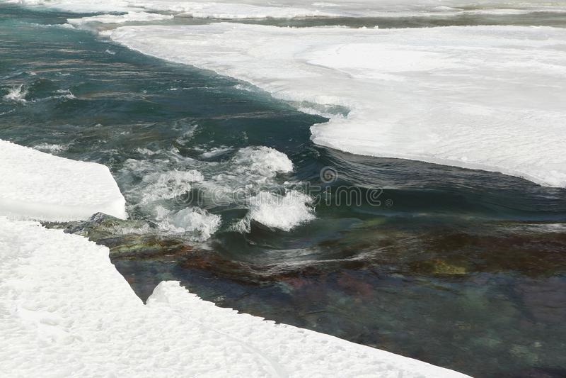 Molhe o fluxo entre o gelo de derretimento do rio na primavera fotografia de stock