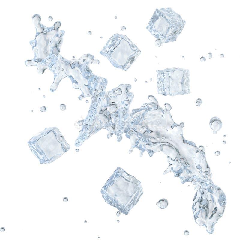 Molhe o respingo com os cubos de gelo e as gotas de água isolados Trajeto de grampeamento incluído ilustração 3D ilustração do vetor