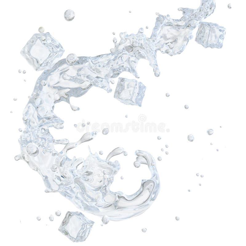 Molhe o respingo com os cubos de gelo e as gotas de água isolados Trajeto de grampeamento incluído ilustração 3D ilustração royalty free