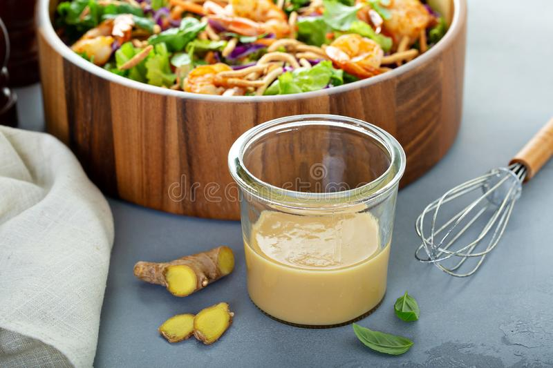 Molho asiático da salada do amendoim do gengibre imagem de stock royalty free