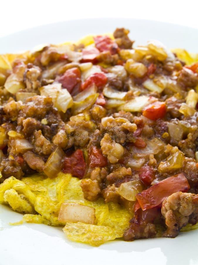 Molho da carne da omeleta foto de stock royalty free
