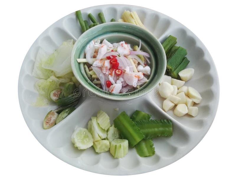Molho de Namphrik da pasta e do pimentão do camarão, comido com vegetais e peixes imagens de stock royalty free