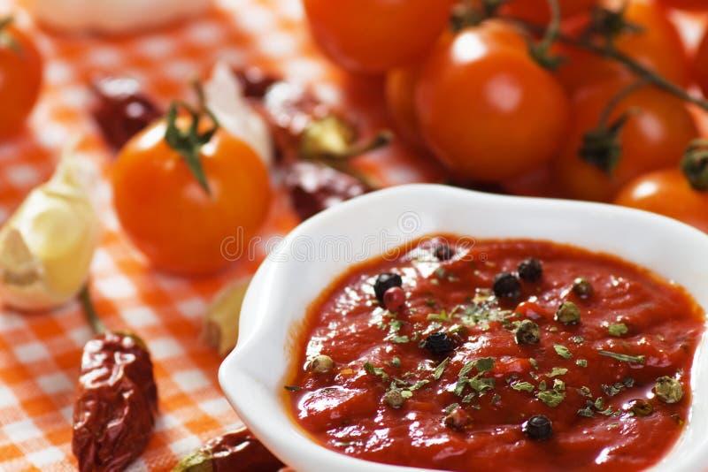 Molho de pimenta do tomate e do pimentão foto de stock